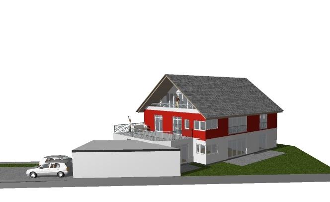 neubau eines wohnhauses mit 2 wohneinheiten, einer doppelgarage und 2 pkw-abstellplätze